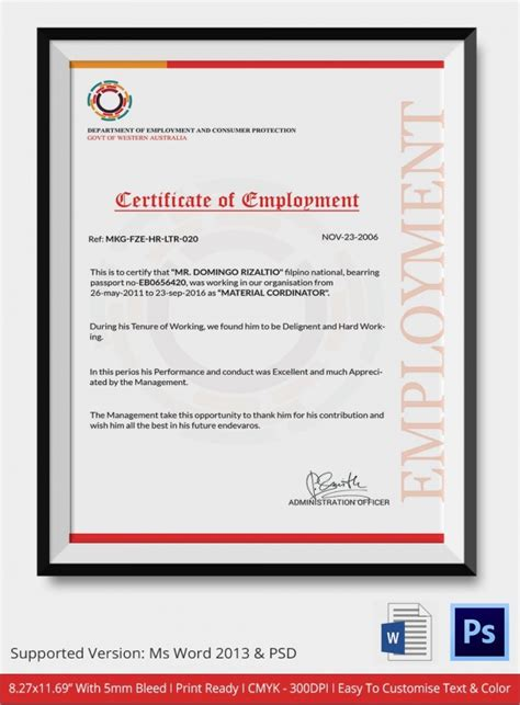 employment certificate template sle certificate 32 documents in word pdf psd