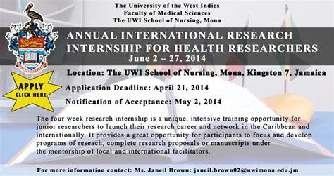 annual international research internship for health researchers jamaica 2014 the uwi school of