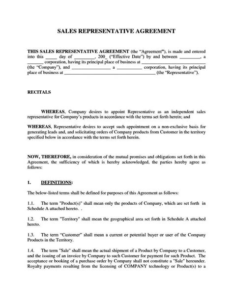 Sales Representative Contract Template Sletemplatess Sletemplatess Sales Representative Contract Template