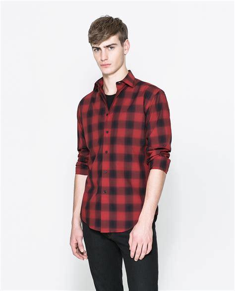 Zaraman Cotton Shirt zara checked shirt in for lyst