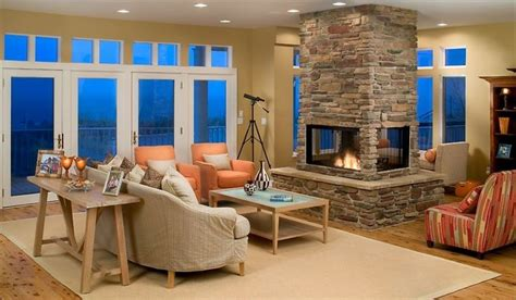 Four Sided Fireplace by Four Sided Fireplace In Great Room Fireplace Design