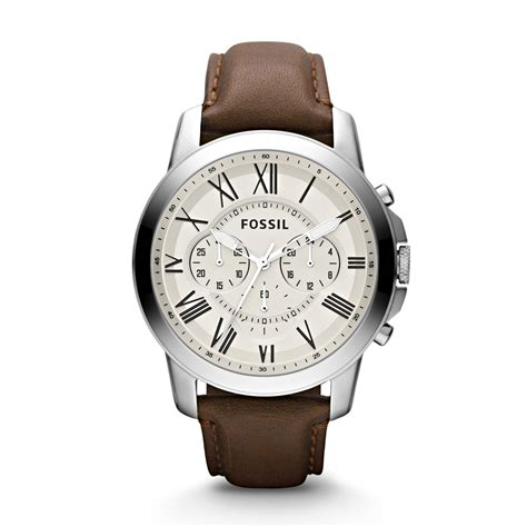 Fossil Leather Brown fossil mens grant chronograph brown leather
