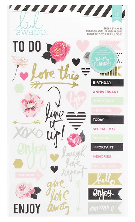printable word stickers heidi swapp hello beautiful collection memory planner