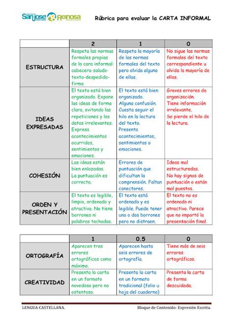 Carta Formal E Informal Pdf R 250 Brica Para Evaluar La Carta Informal Color Pdf