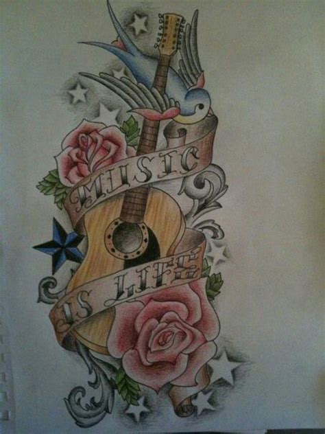 acoustic guitar tattoos designs guitar student