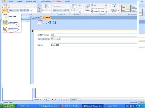 design view adalah cara membuat form pada ms acces 2007 s a gaptek