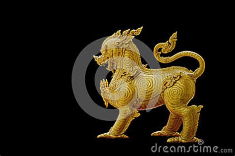 gold lion pattern thailand pattern on gold lion statue stock image image