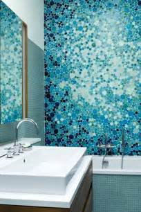 ideas mosaic wall: blue bubble mosaic tiles bathroom design ideas pictures designs