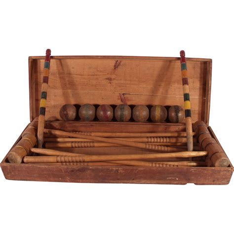 collectibles and gifts antique royal solid wood furniture antique wooden 1890 s croquet set in original wood chest the royal jackalope ruby