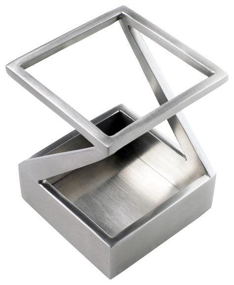 Stainless Steel Desk Accessories Artsondesk Pen And Pencil Holder Stainless Steel Satin Finish View In Your Room Houzz