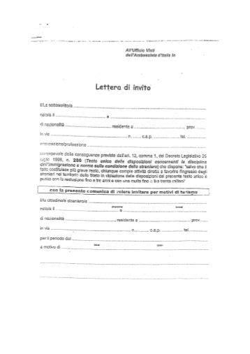 lettere di invito per turismo lettera di invito per ambasciate e consolati italiani in