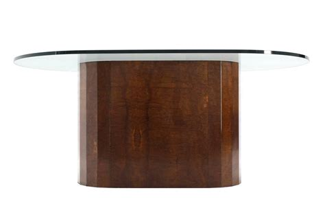 Oval Glass Top Dining Table With Wood Base Large Burl Wood Base Thick Glass Top Oval Dining Table At 1stdibs