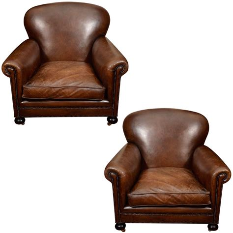 leather oversized chair with ottoman pair oversized leather club chairs england late 19th