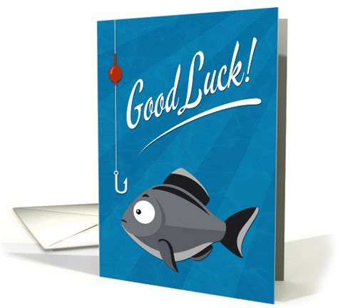 Good Luck Fishing with Cartoon Fish and Hook card (1412764)