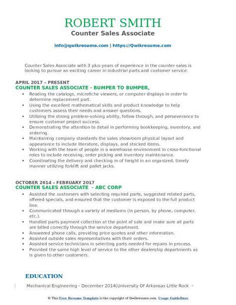 resume format counter salesman counter sales associate resume sles qwikresume