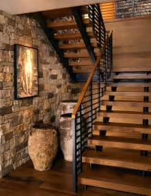 modern open staircase to basement wilson mountain residence rustic staircase other