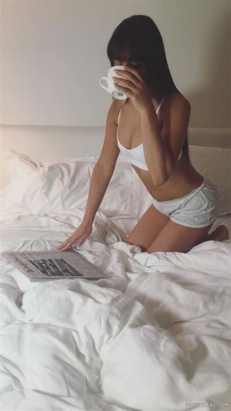 lea michele drinking coffee in underwear in the bed