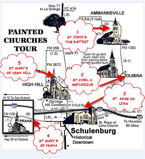 painted churches of texas map this map shows the location of the five painted churches of schulenburg photo ravenoaks