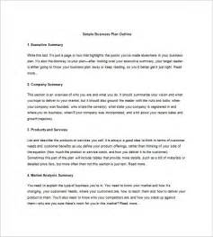 simple business plan template business plan outline template 15 free sle exle