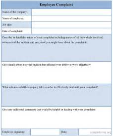 Employee Form Template by Employee Complaint Form Template Sle Employee