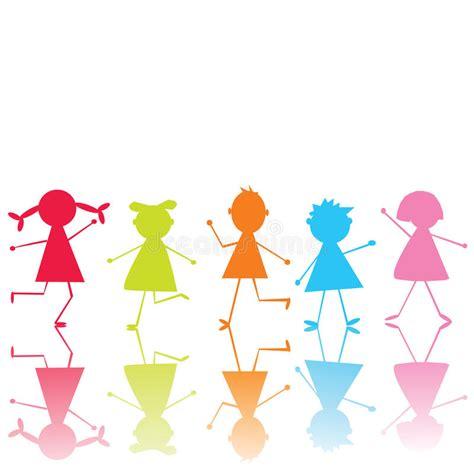 immagini clipart bambini bambini stilizzati colorati illustrazione di stock