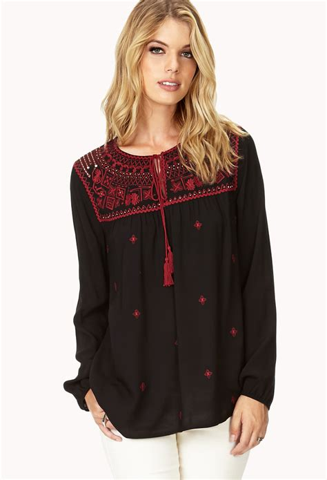 Tunic Boho Blouse Zeleka forever 21 contemporary la vie boho tunic in black lyst