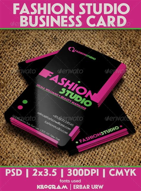 fashion consultant business cards free templates fashion studio business card by cacadoo graphicriver
