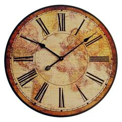 vintage antique style old world map wall clock wood new antique price guide details page