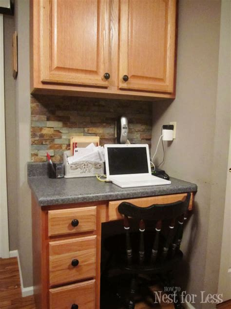 Small Kitchen Desk Ideas Kitchen Desk Area Wood Panel For The Back Of Desk Kitchen Desk Backsplash Kitchen Ideas