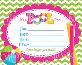 items similar to new printable set of 4 pool invitations fill in the blank on etsy