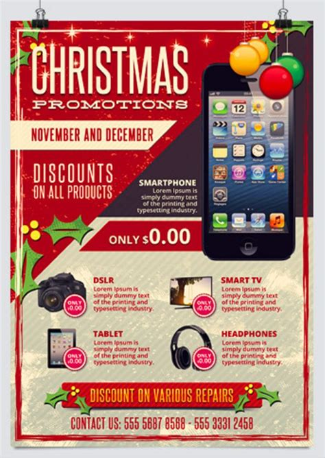 30 Free Christmas And New Year Psd Flyers For Promos 12 Days Of Flyer Template
