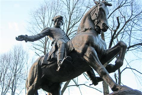 The statue of paul revere in near the old north church in boston