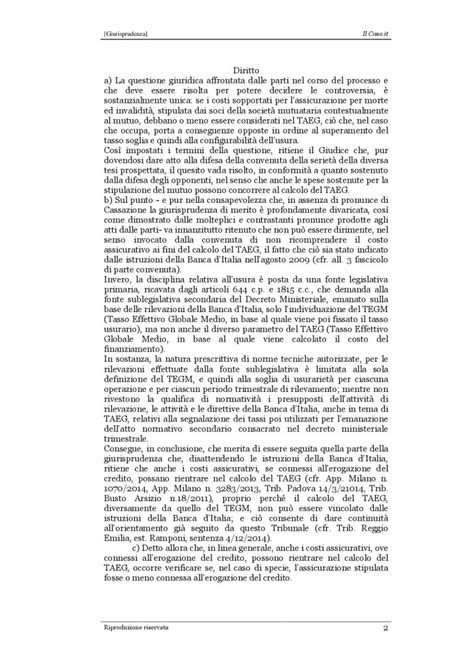 calcolo taeg d italia reggio emilia il tribunale nel taeg anche i costi