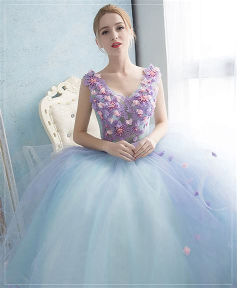 light blue floral dress purple floral light blue tulle prom dress sleeveless v