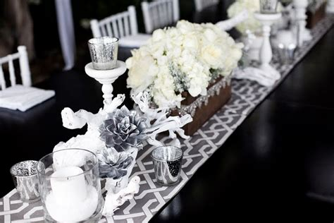 silver and white table centerpieces style code table decor what a way to throw a dinner