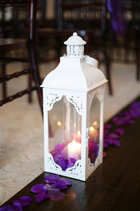 purple and white wedding, lanterns, aisle decorations www