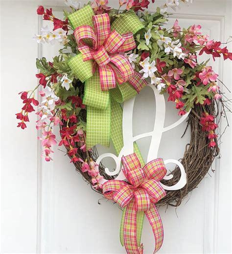 monogram wreath spring wreath summer monogram wreath