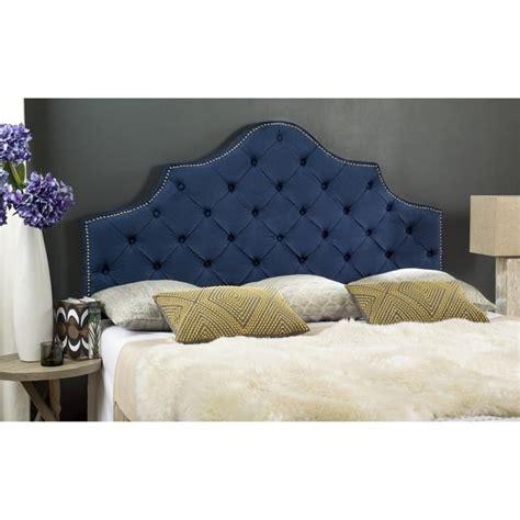 safavieh arebelle steel blue upholstered tufted headboard
