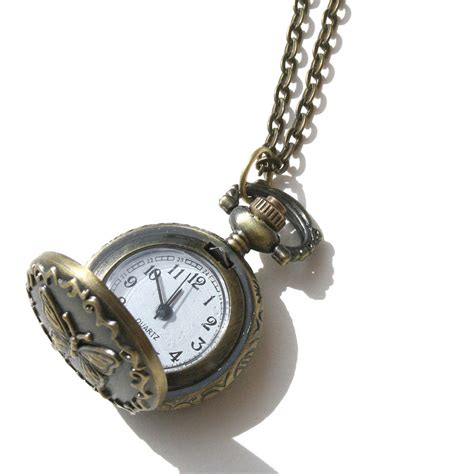 butterfly locket clock necklace by hayley co