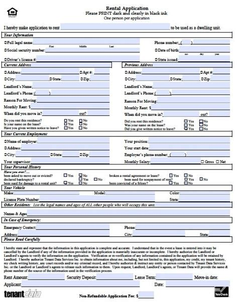 application forms templates printable sle rental application template form real