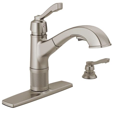 installing delta kitchen faucet delta allentown single handle pull out sprayer kitchen faucet with soap dispenser in stainless