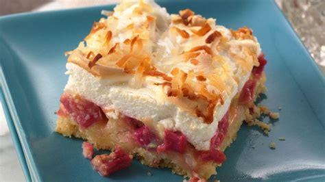 printable rhubarb recipes rhubarb meringue dessert recipe bettycrocker com