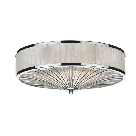 contemporary flush chrome silk pleated ceiling light