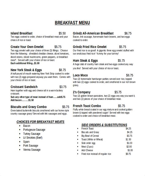 30 Menu Templates Free Sle Exle Format Free Premium Templates Breakfast Menu Template Free