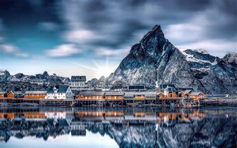 wallpaper  mountains lake buildings