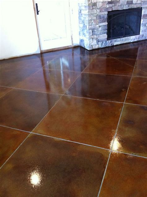 colored concrete floors scoring lines in a multi colored stained concrete floor