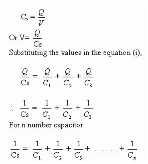 capacitors in series and parallel equations combination of capacitors electrical circuits