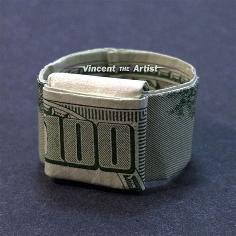 Origami Dollar Ring - ring money origami jewelry made of real dollar bill
