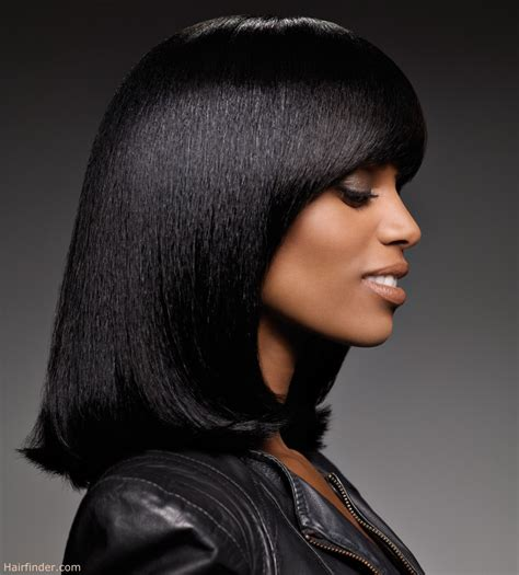 black hair bob for smooth and straightened black hair