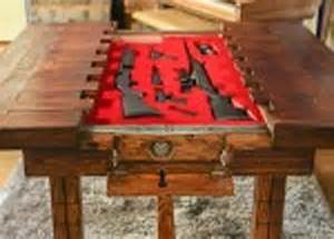 Wooden table with concealed gun storage stashvault